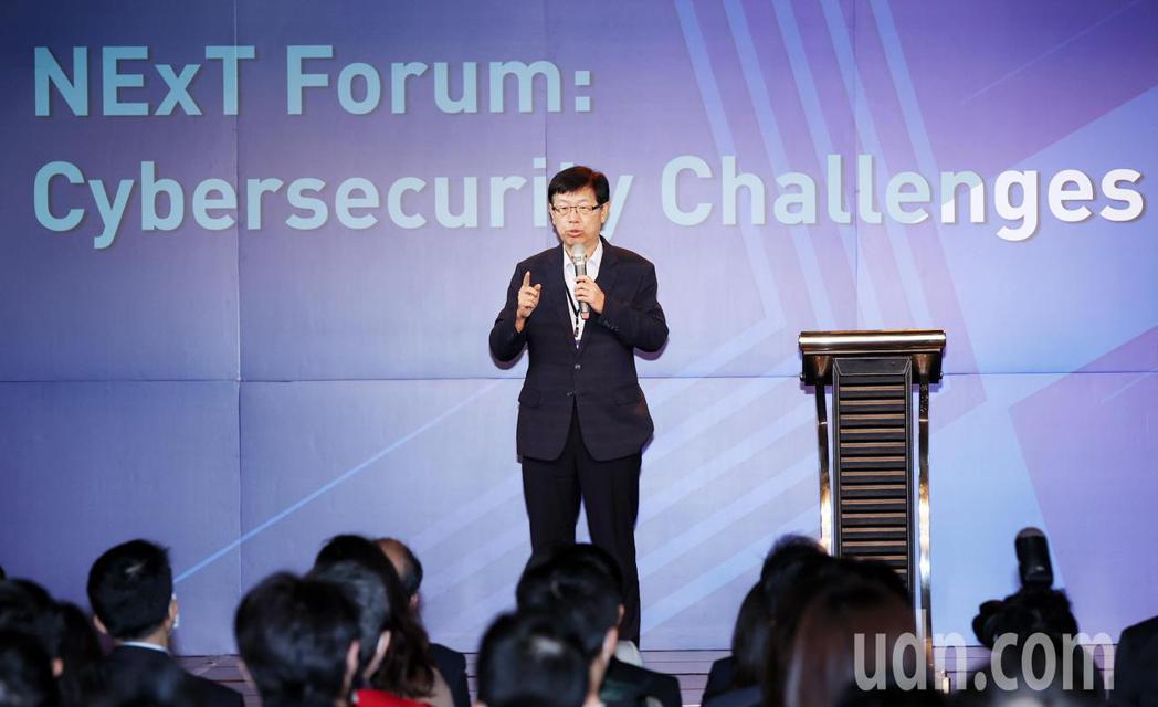 鴻海研究院上午舉辦的資安技術論壇,鴻海研究院院長的劉揚偉發表演說。記者杜建重/攝...