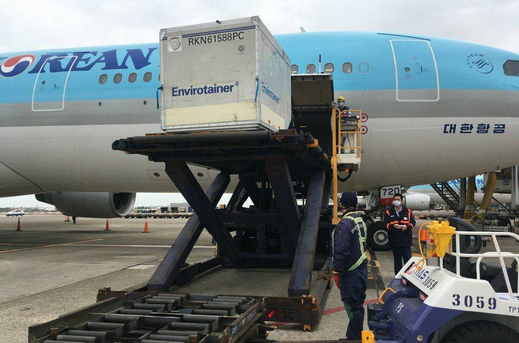 我國首批20萬劑阿斯特捷利康(AZ)疫苗,3月3日搭乘韓國航空KE-691班機運抵台灣桃園機場。圖/讀者提供