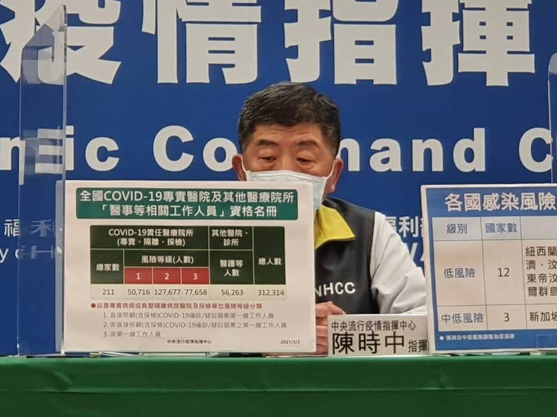 陳時中表示,首批AZ疫苗11.7萬劑,已於上午10點21分由韓國大韓航空KE691班機運送,抵達桃園機場,完成通關程序後,運送至指定冷儲物流中心。記者楊雅棠/攝影