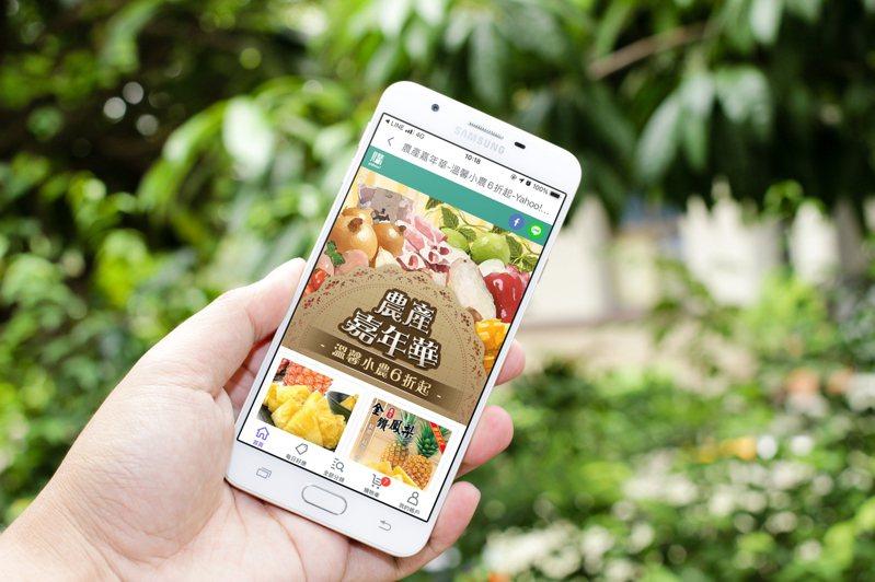 Yahoo奇摩購物中心推出「農產嘉年華」活動,集結鳳梨、鳳梨製品、生鮮蔬果等商品47折起。圖/Yahoo奇摩購物中心提供