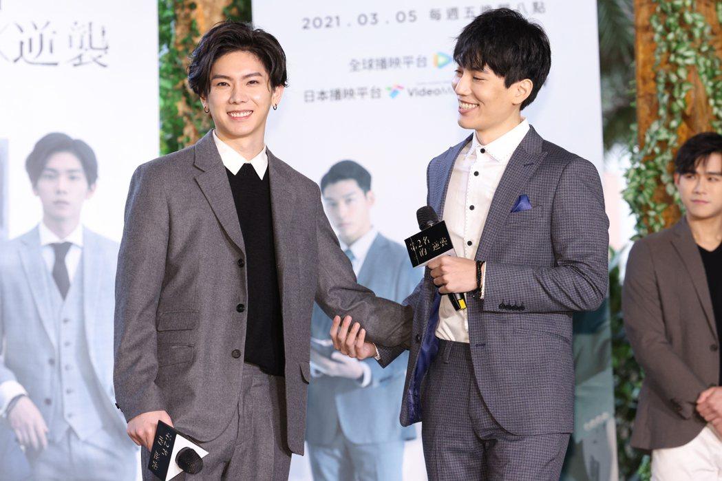 林子閎(右)、楊宇騰在「第二名的逆襲」中湊對男男CP。記者沈昱嘉/攝影