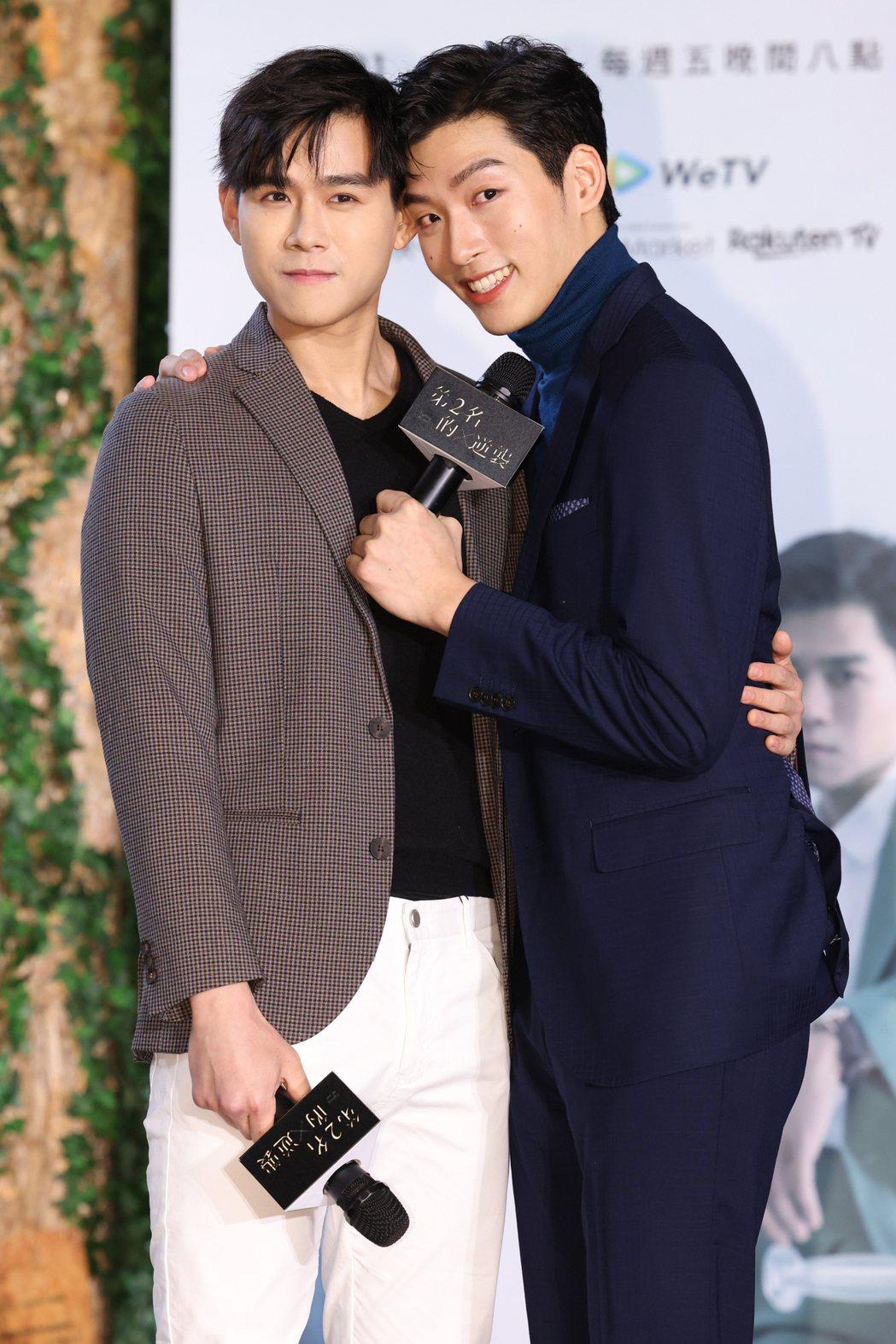 李齊(左)、羅德弘在「第二名的逆襲」中湊對男男CP。記者沈昱嘉/攝影