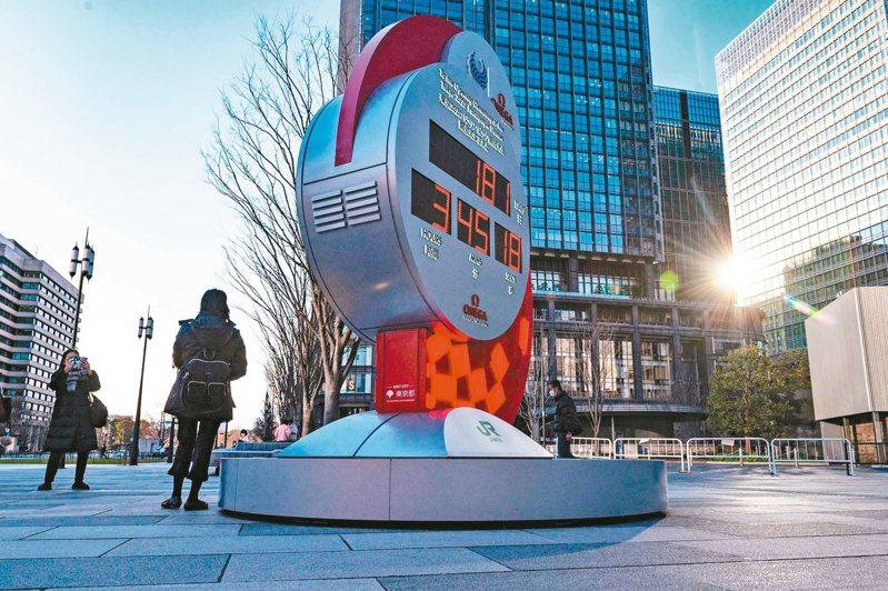 東京車站外的二○二○年東京奧運鐘持續倒數計時。 圖/法新社