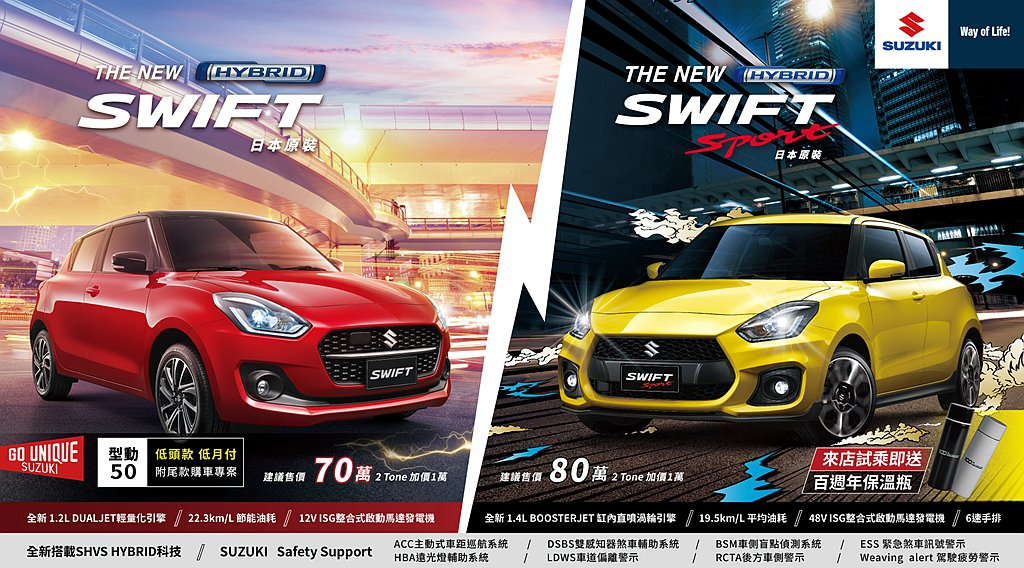 Suzuki Swift、Swift Sport全新搭載HYBRID複合動力、S...