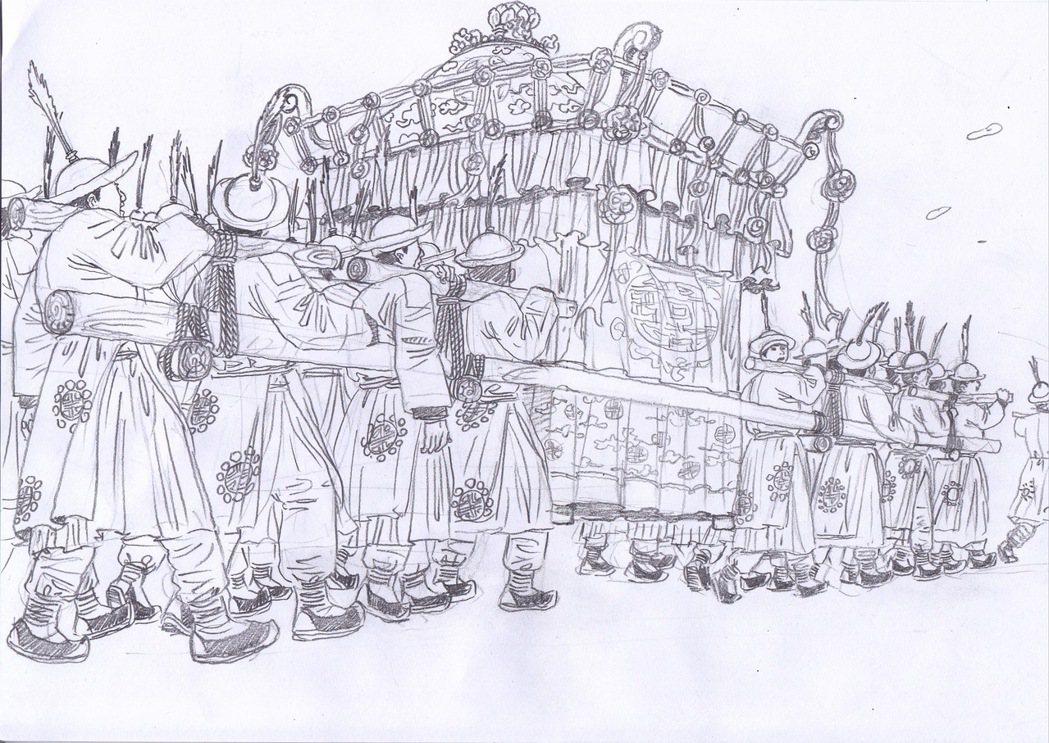 王誌成參與《一代宗師》時繪製的場景設計圖。照片提供/王誌成