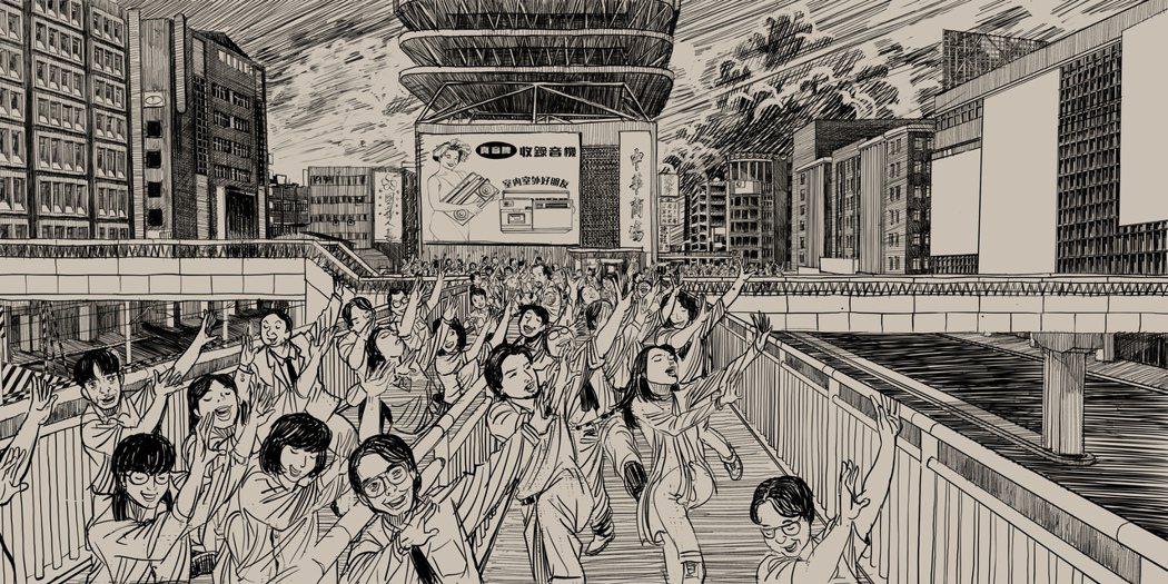 王誌成畫出許多《天橋上的魔術師》場景,讓組員更能理解,也讓自己掌握細節。照片提供...
