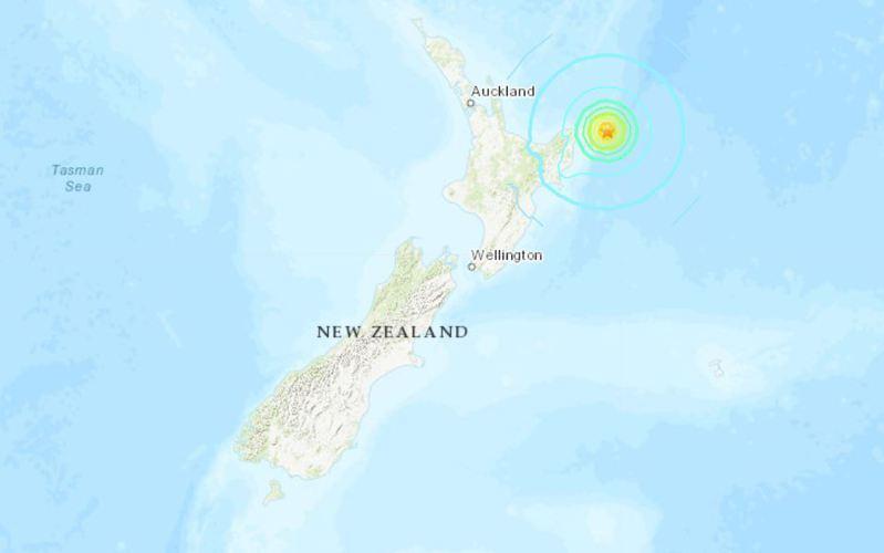 紐西蘭北島外海當地時間5日凌晨2時27分發生規模7.3強震。圖/取自美國地質調查局