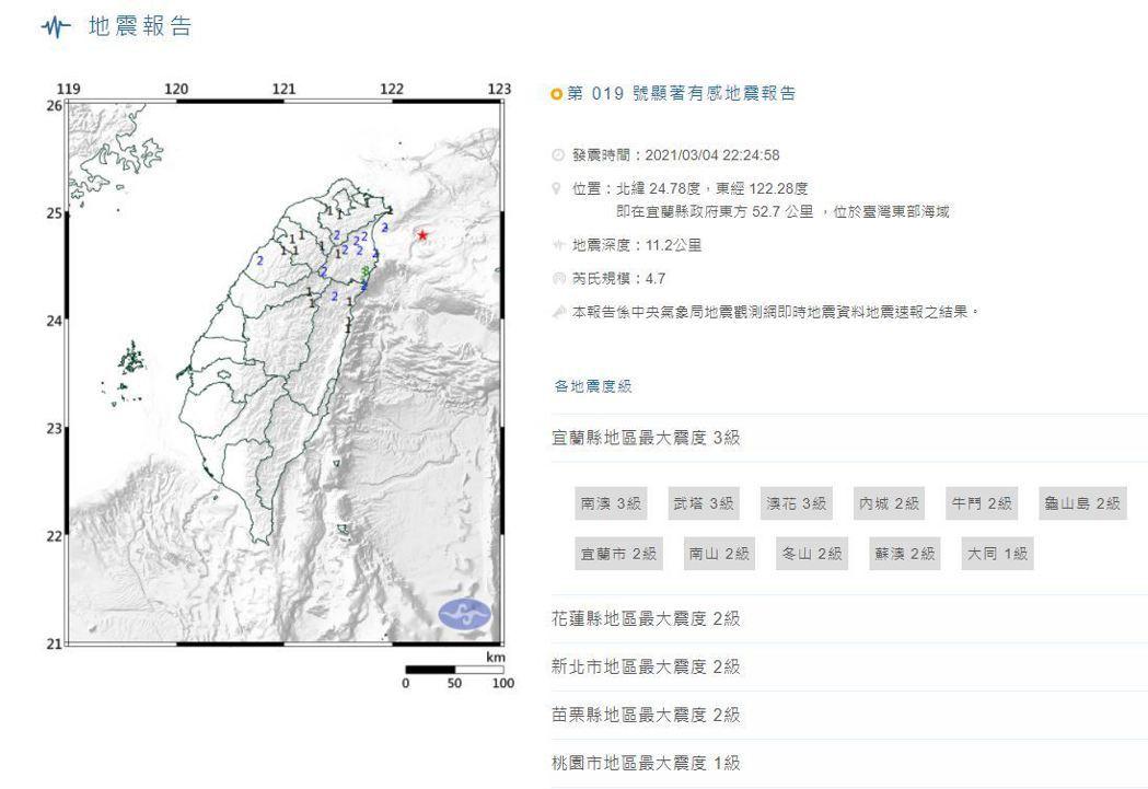 地震報告顯示,3/4-22:24發生規模4.7地震。圖/中央氣象局。