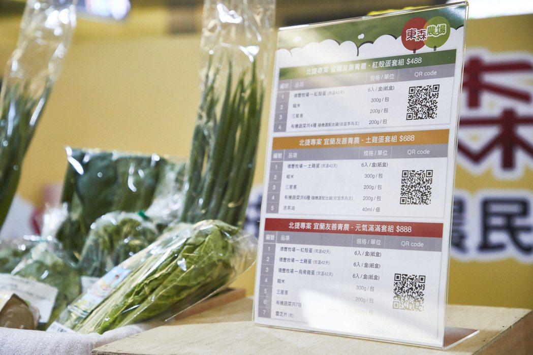 農產攤位提供488、688、888元三種價格的農產套組。業者/提供