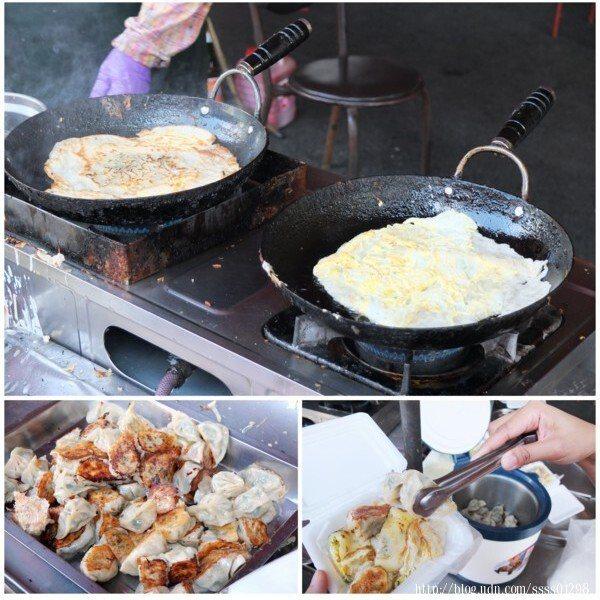 開始營業後,兩個小鍋子整個上午基本上沒休息過,煎著純手工調配麵粉漿餅皮的蛋餅,點一份蛋餅,再夾幾顆煎餃就是很棒的早餐享受!