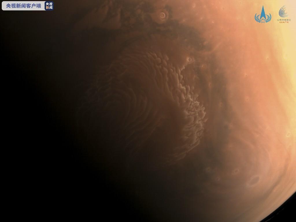 大陸國家航天局發佈天問一號探測器拍攝到的高清火星彩色影像。(新華社)