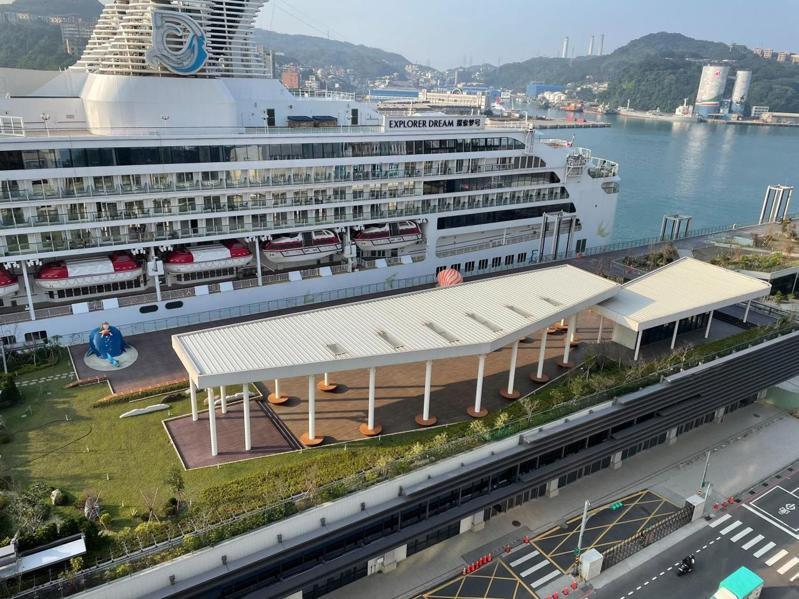 台灣港務公司辦理基隆港東3、4碼頭擴建旅客服務設施招商,港方認為頂樓天空綠廊空間可望成為打卡熱點。圖/基隆港務分公司提供