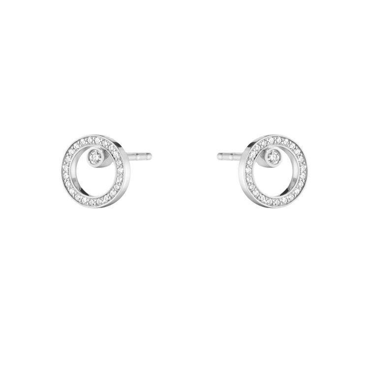 喬治傑生Halo 18k白金鑽石限定款耳環,39,700元。圖/喬治傑生提供