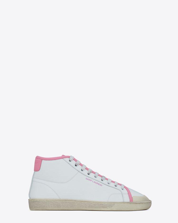 SL39 Mid-Top鞋款有深藍白和粉紅白兩種拚色組合,沉穩可愛。圖/Sain...
