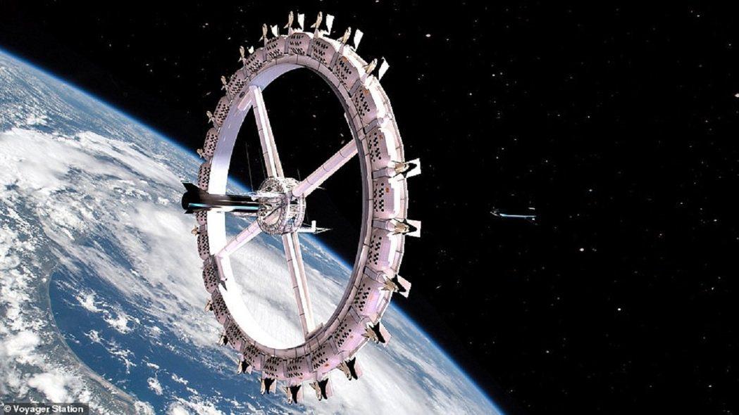 軌道組裝公司發布的航海家太空站概念圖,站體由數個「環」構成,透過旋轉產生近似月球...