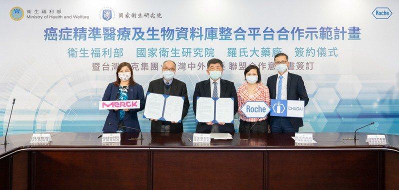 國家級人體生物資料庫整合平台(NBCT)首度參與癌症個人化精準醫療計畫,羅氏大藥廠攜手台灣默克集團、台灣中外製藥,與衛福部、國衛院聯盟簽訂合作意向書。圖/羅氏提供