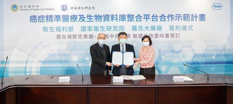 羅氏大藥廠與衛福部、國衛院攜手打造個人化精準醫療網,簽訂「癌症精準醫療及生物資料...