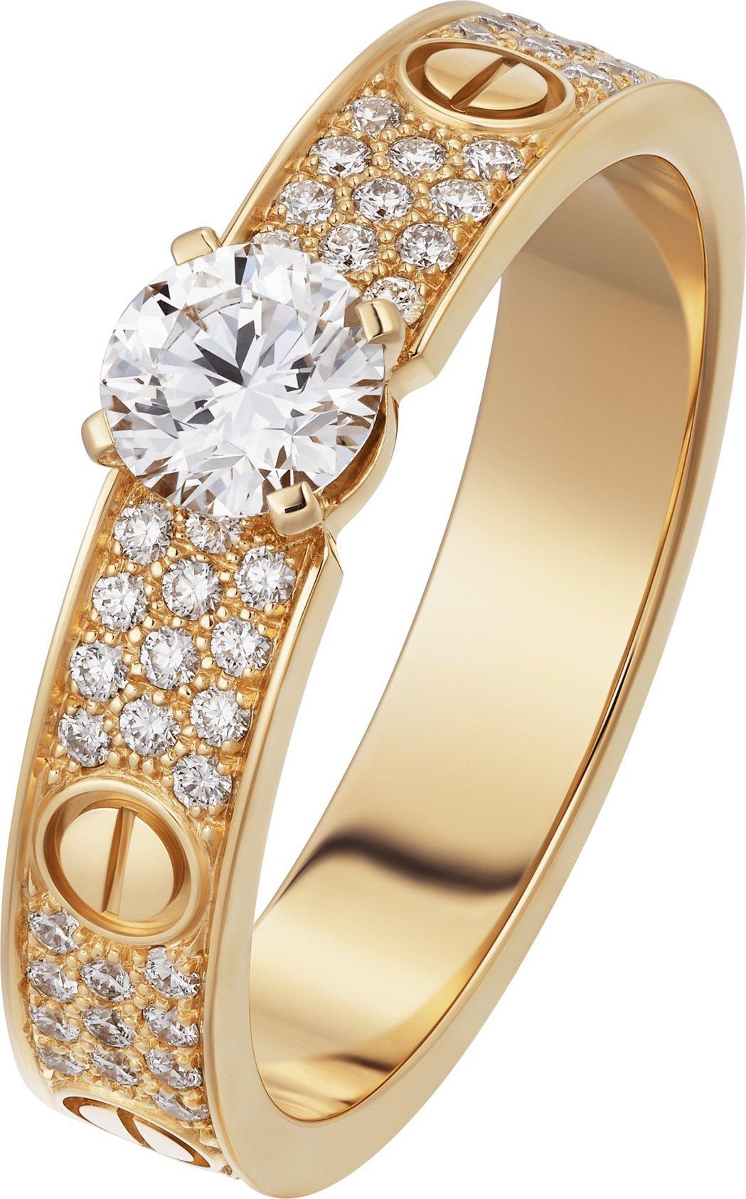LOVE 鋪鑲單鑽戒指,玫瑰K金,鑲嵌一顆圓形明亮式切割鑽石,並鋪鑲上圓形明亮式...