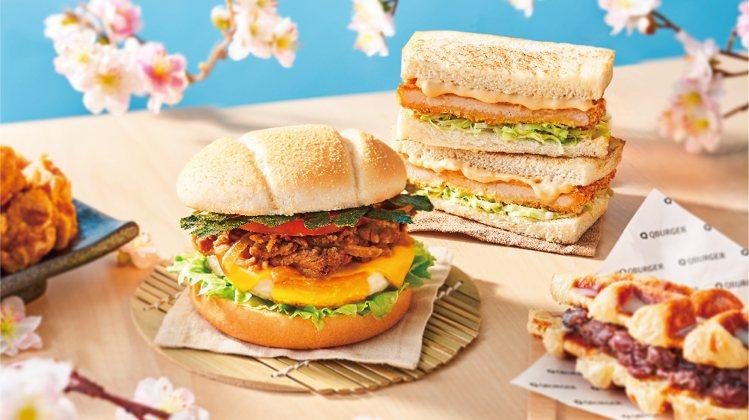 Q Burger推出壽喜燒豚起士蛋堡、日式胡麻豬排吐司等「元氣朝食」。圖/Q B...