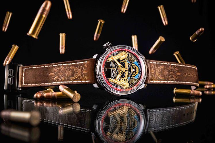 BOMBERG BB-01自動機械系列雙槍骷髏自動大三針腕表,以墨西哥牛仔形象,...