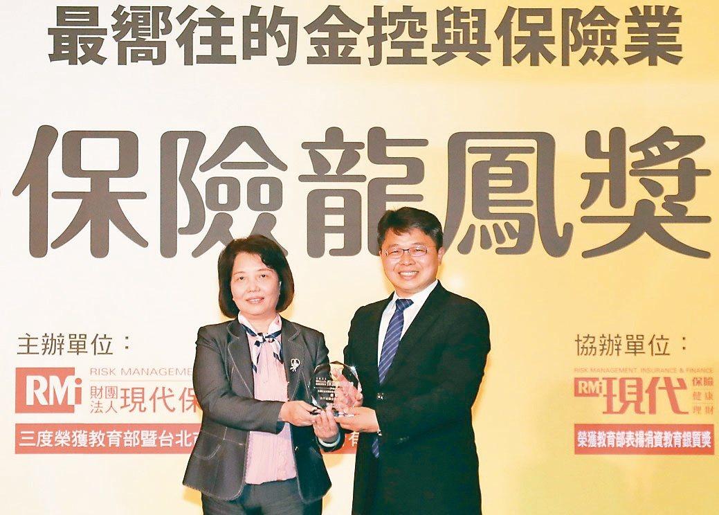 合庫金控副總經理呂瑞齡(左)與現代保險雜誌總經理劉振豐合影。合庫/提供