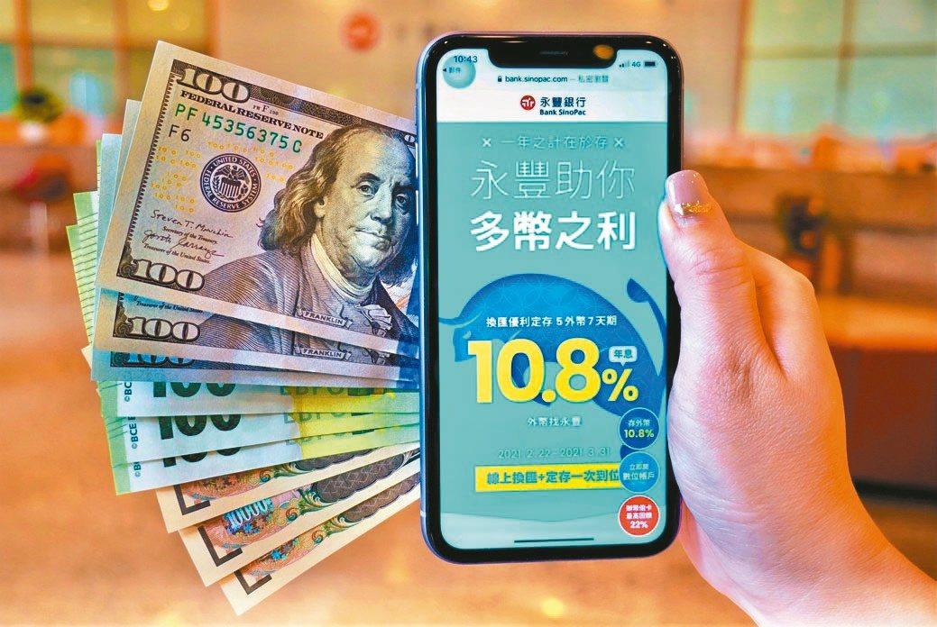 永豐銀行推出「換匯優利定存」專案,線上換匯加外幣定存一次到位。永豐銀行/...