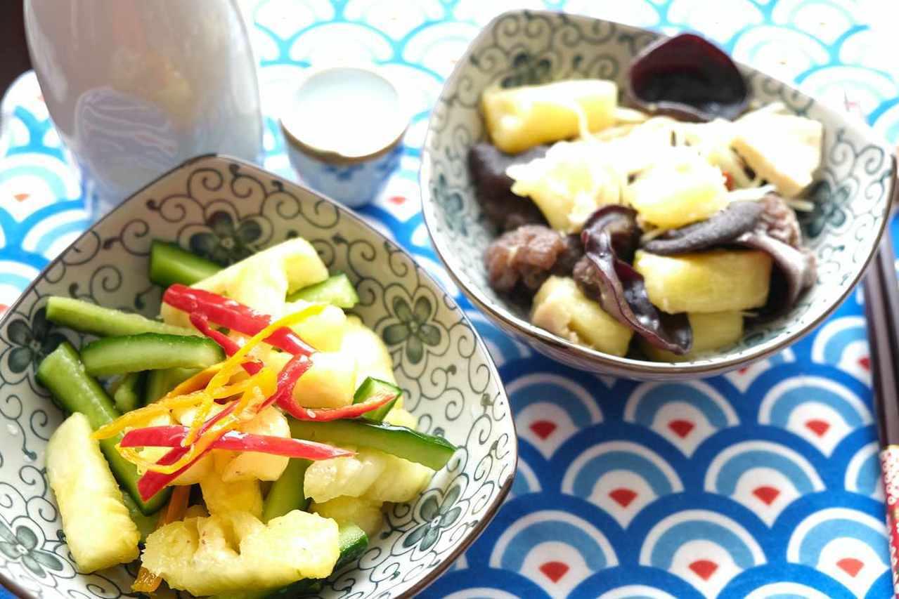 用鳳梨醃漬小黃瓜,或是炒木耳和凍豆腐,都是下酒良伴。 圖/楊語芸 攝影