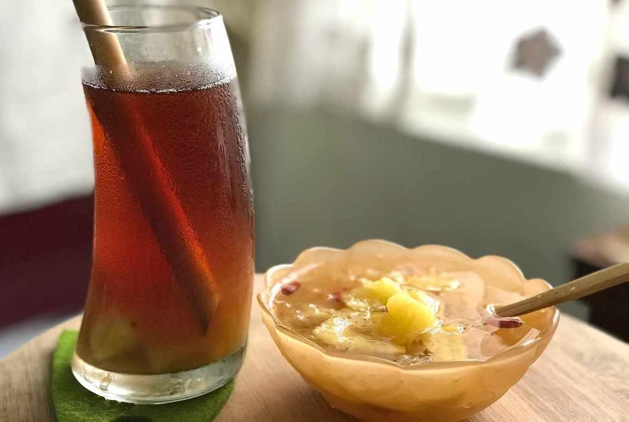 糖漬鳳梨運用極廣,可以作成飲料,也可以搭配甜湯。  圖/楊語芸 攝影