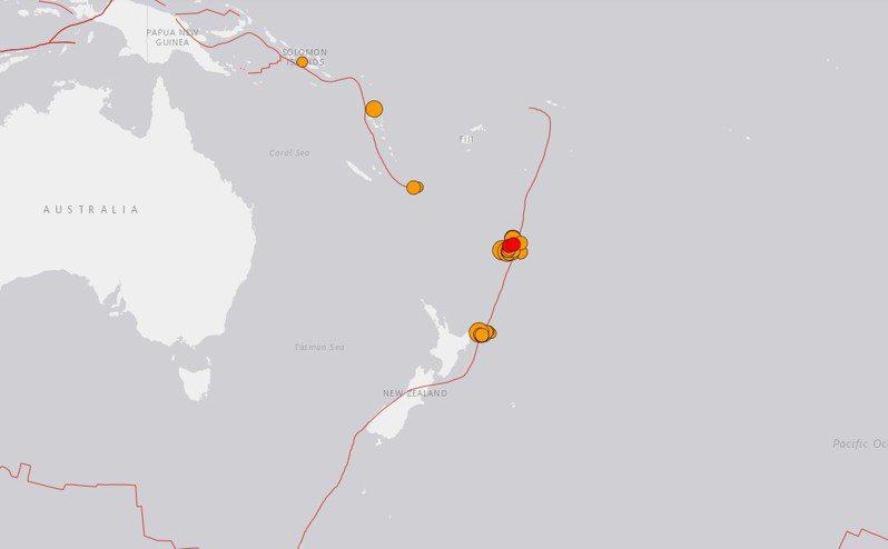 紐西蘭克馬得群島外海今天發生規模8.1強震。圖擷自歐洲麵包大展