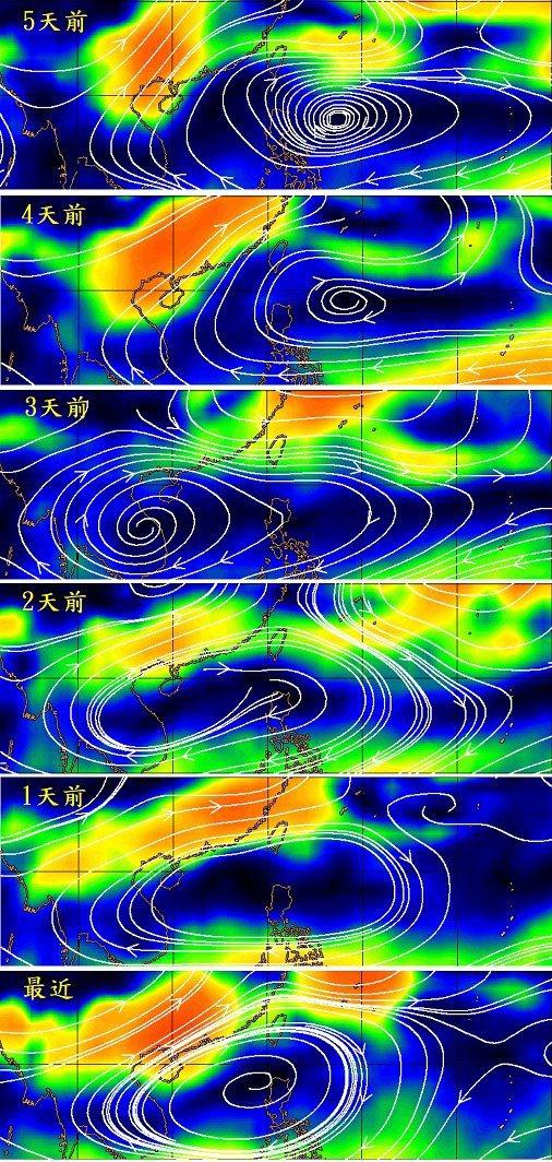 低層平均風場(700~850mb)。圖/取自鄭明典臉書