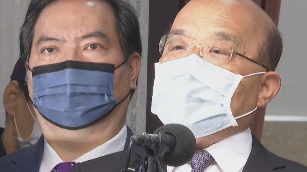行政院長蘇貞昌重申,「疫苗不足我不搶,沒人敢打我先打」。記者莊昭文/攝影