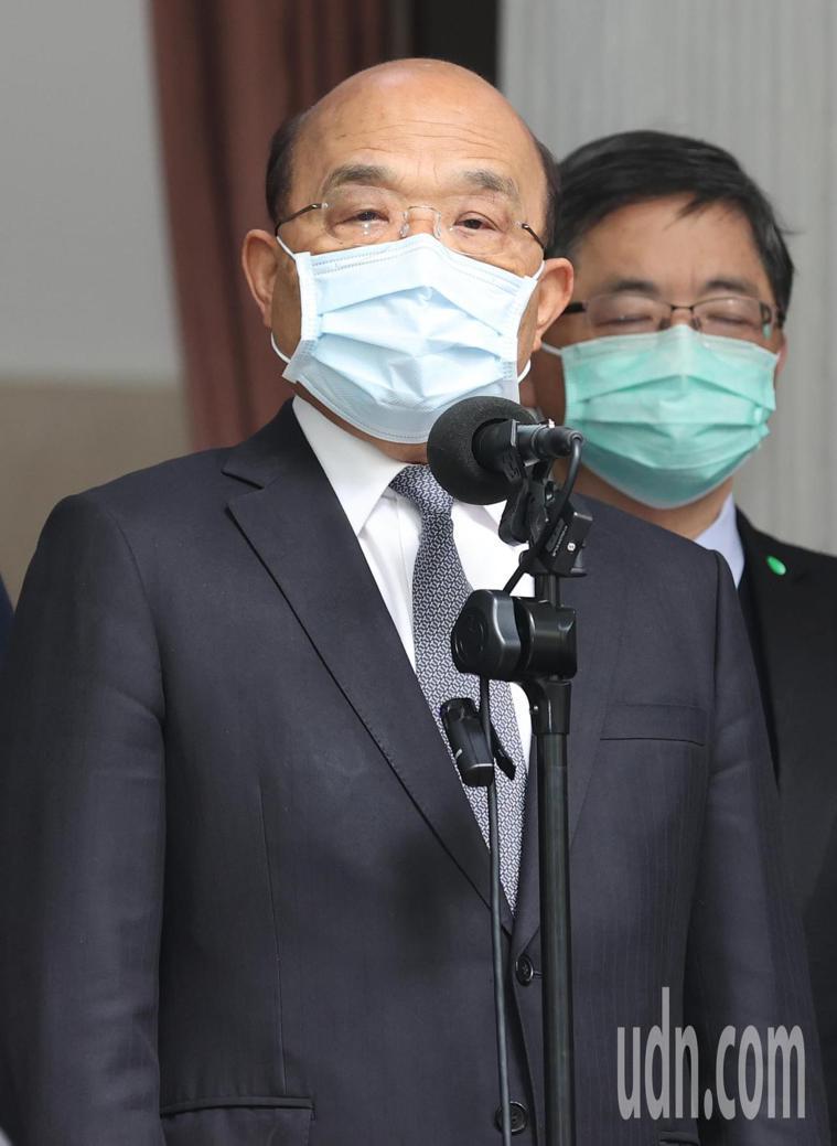 行政院長蘇貞昌上午赴立法院院會進行專案報告並備答詢,會議前接受媒體記者聯訪。記者...