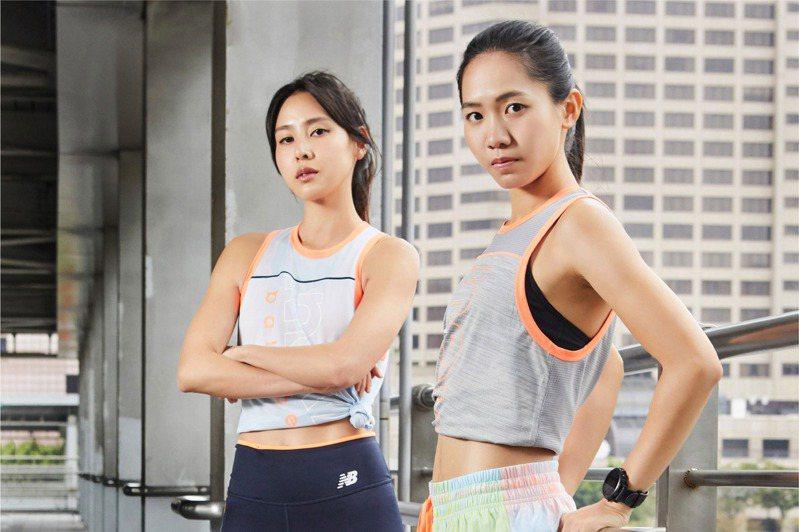 響應國際婦女節,New Balance請來房思瑜(左)和運動員張芷瑄穿上新跑鞋,演繹《We Got Now》女力無所畏主題。圖/New Balance提供
