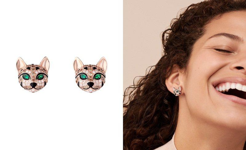 寶詩龍(Boucheron)全新的Animaux系列,將獵豹保留了野性力量,但加入討喜元素,打造出Fuzzy豹貓項鍊、耳環與戒指。圖 / Boucheron提供(合成圖)。