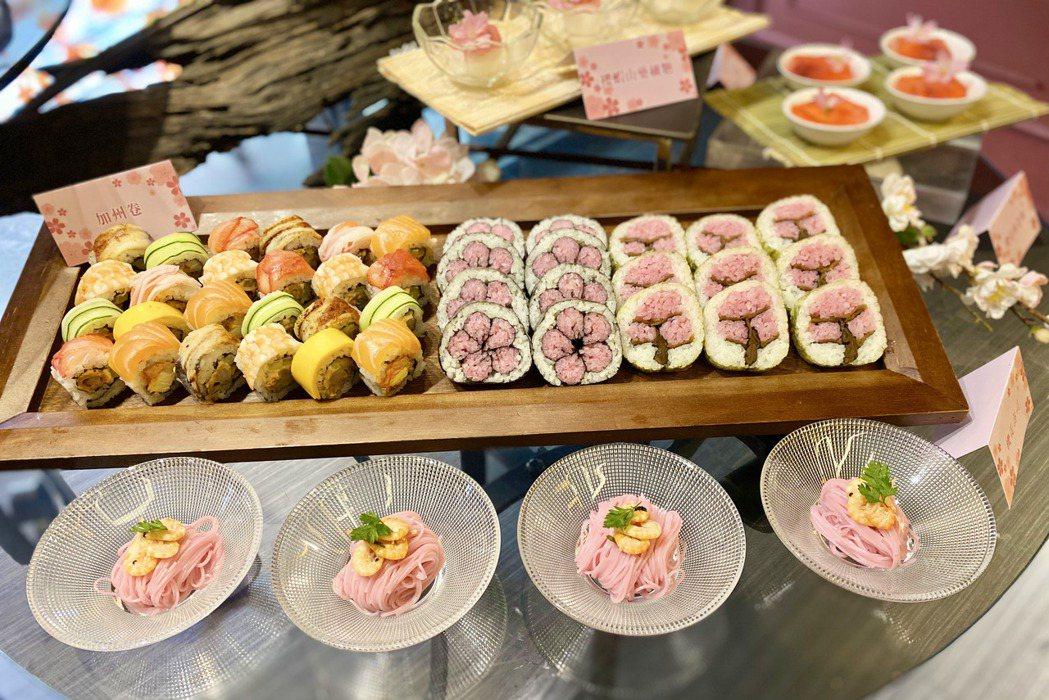 造型漂亮的「櫻花壽司」與充滿鮮香氣味的「櫻蝦紫蘇麵」。記者宋健生/攝影