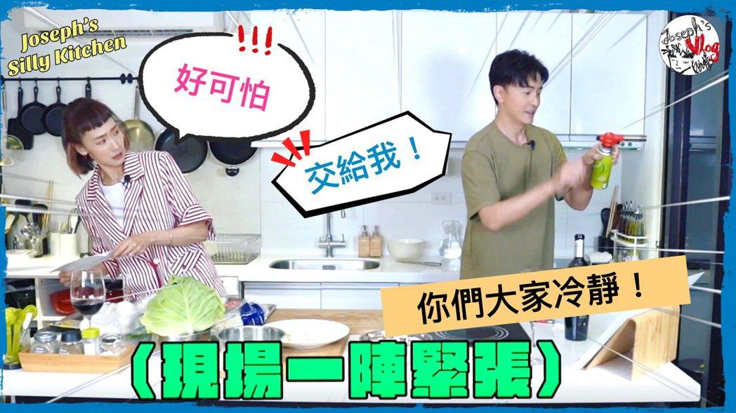 陸明君(左)上鄭元暢「不專業廚房」節目。圖/M.I.E.最大國際娛樂提供