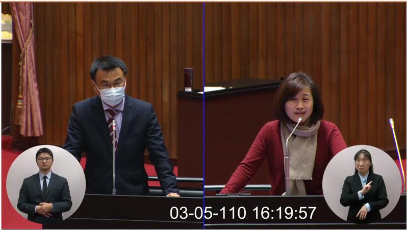 國民黨立委林奕華(右)質疑農委會主委陳吉仲(左)用人「近親繁殖」,陳吉仲要她收回這說法。圖/擷取自國會頻道