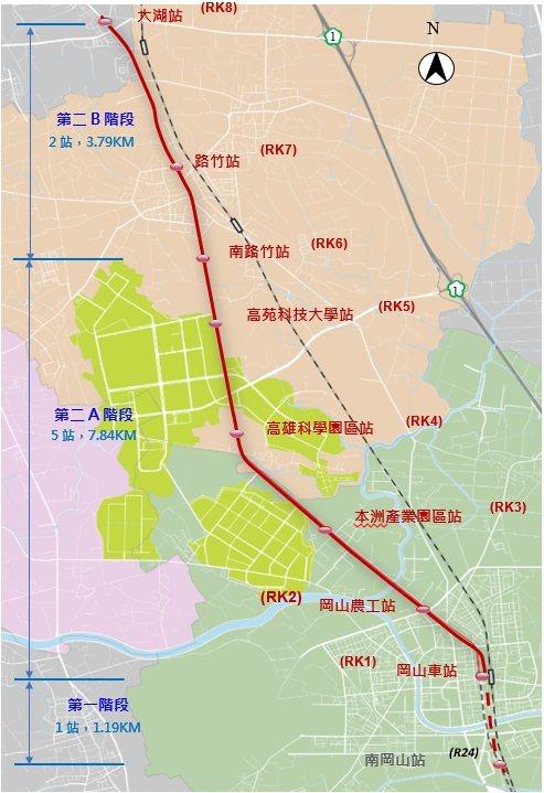 行政院4日核定高雄捷運岡山路竹延伸線計畫。 高雄市政府捷運局/提供