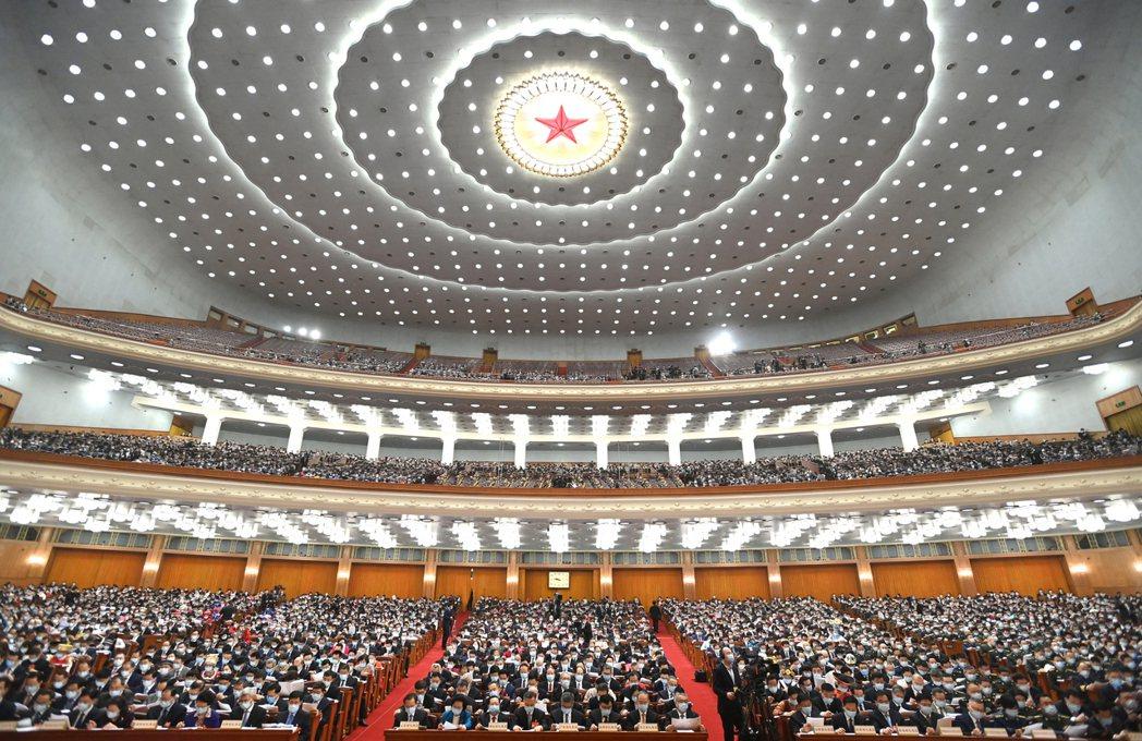 圖為大陸十三屆全國人大四次會議5日在北京人民大會堂開幕。新華社