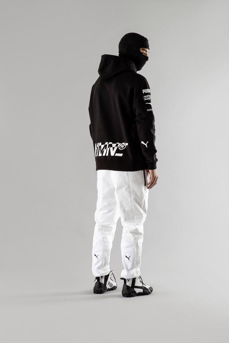 PUMA x Nemen聯名系列連帽T恤6,280元、賽車長褲6,280元。圖/...