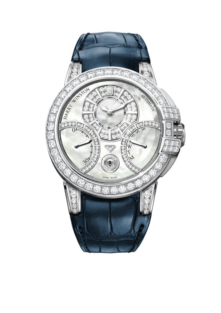海瑞溫斯頓Ocean™系列雙逆跳功能42毫米自動腕表,精心鑲嵌以珍珠母貝面盤、鑽...