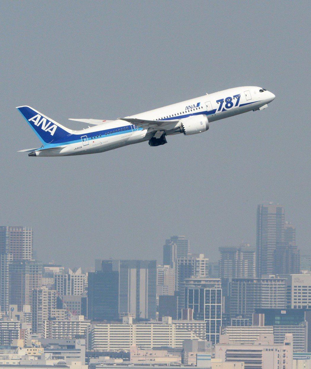 全日空客機飛過東京灣。(美聯社)