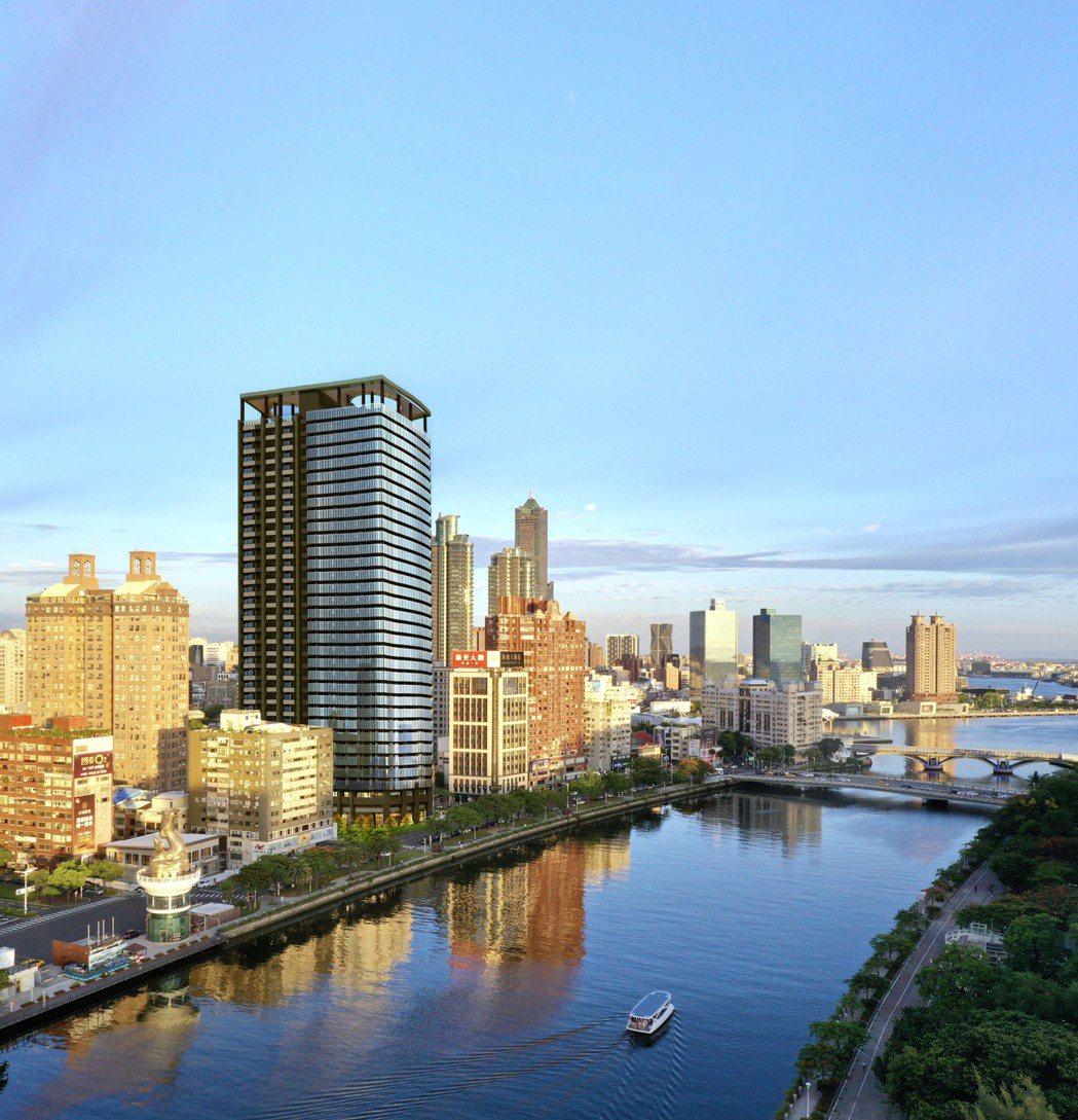 愛河第一排輕豪宅「愛情河左岸」一期即將完銷,預計年中推第二期。 圖片提供/興富發...
