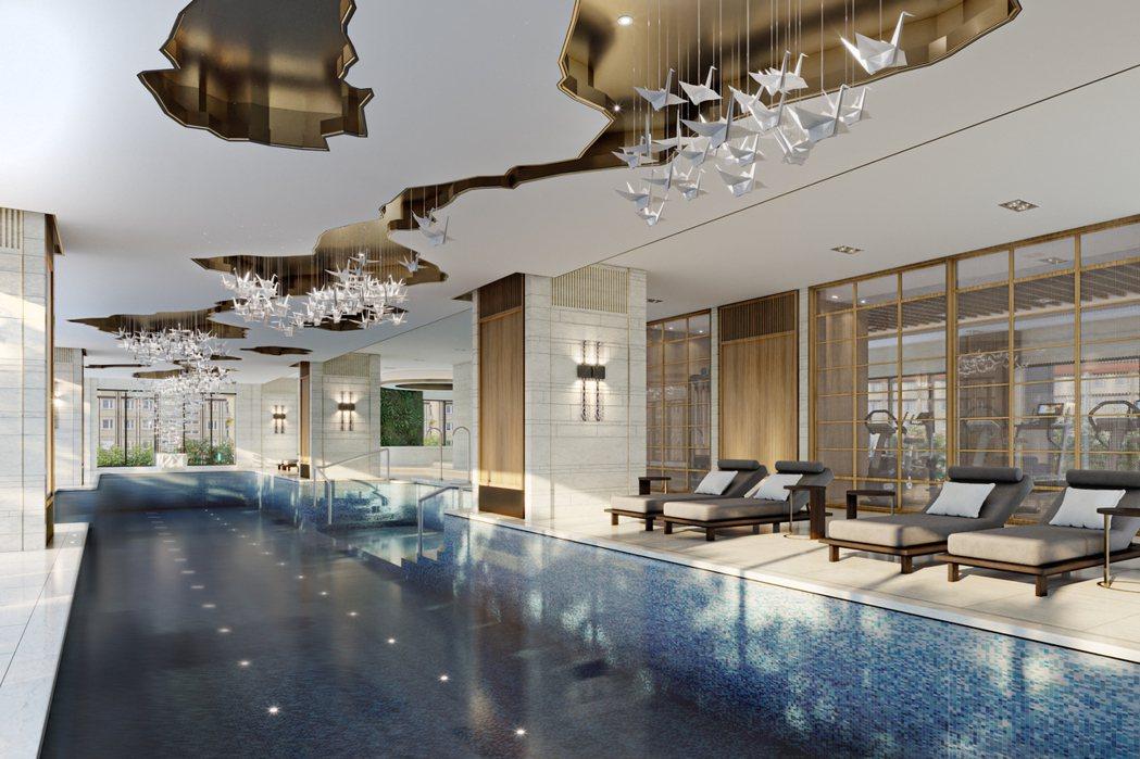 室內溫水泳池、SPA池,讓回家像住飯店。 圖片提供/興富發建設