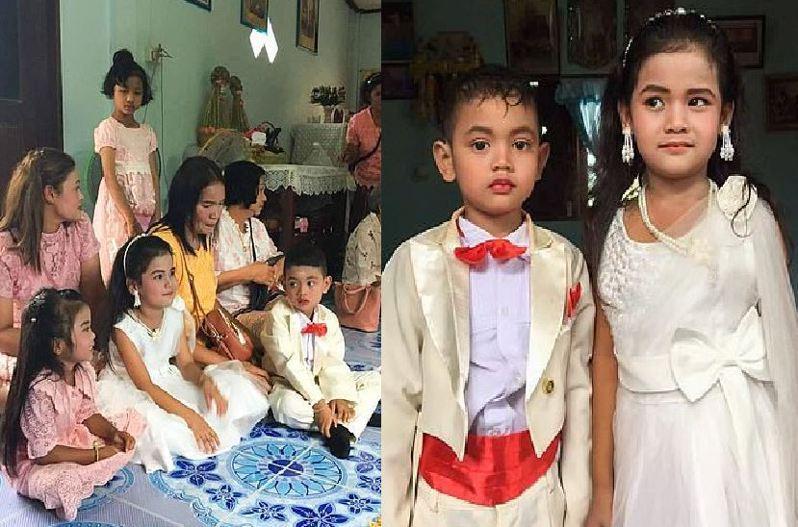 泰國一對年僅5歲的龍鳳胎近日舉行婚禮。 圖翻攝自英國《每日郵報》