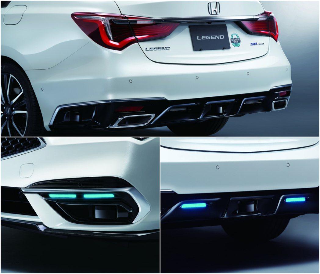 配有Honda SENSING Elite的Legend前後都具有藍色輔助燈,尾...