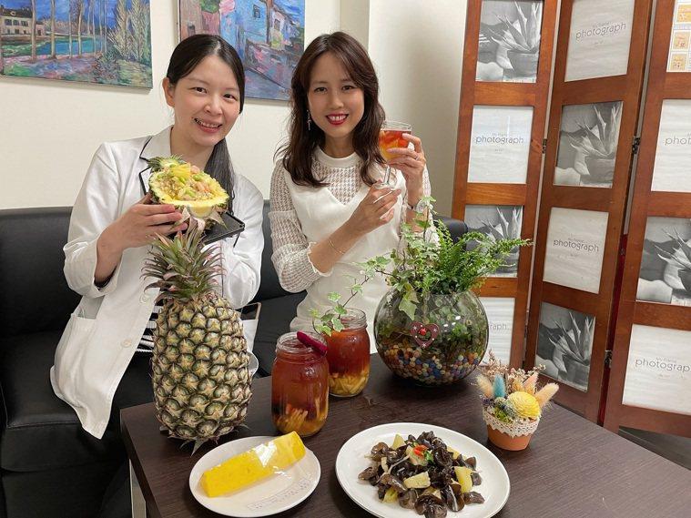 中醫大新竹附醫住院病患餐點,預計將當季的鳳梨加入循環菜單裡,如鳳梨苦瓜雞、鳳梨拌...