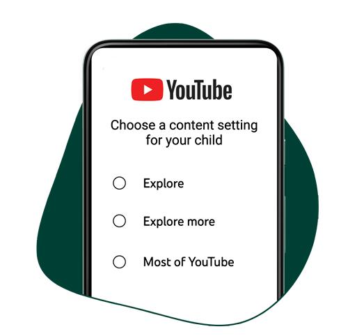 全新「YouTube監督式服務」將提供家長「探索」、「探索更多內容」與 「大部分...