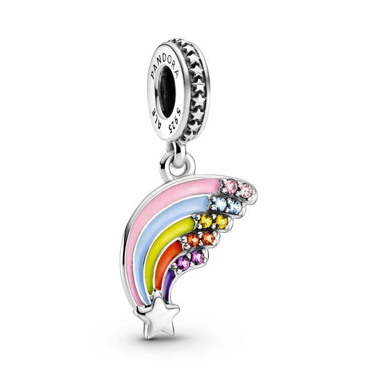 Pandora彩虹流星琺瑯925銀吊飾,1,880元。圖/Pandora提供
