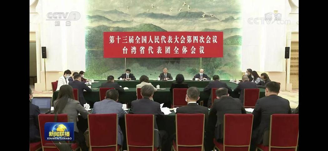 大陸全國政協主席汪洋參加「台灣代表團」審議。圖